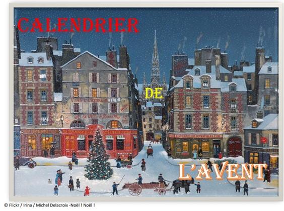 Calendrier de l'Avent Un tableau de Michel Delacroix. Une ville enneigée de nuit. Au premier plan, une place avec un sapin de Noël. Et en arrière plan au centre, une cathédrale à laquelle mène une rue partant de la place.